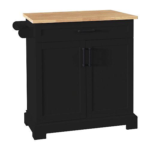 36-inch Black Kitchen Cart