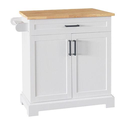 36-inch White Kitchen Cart