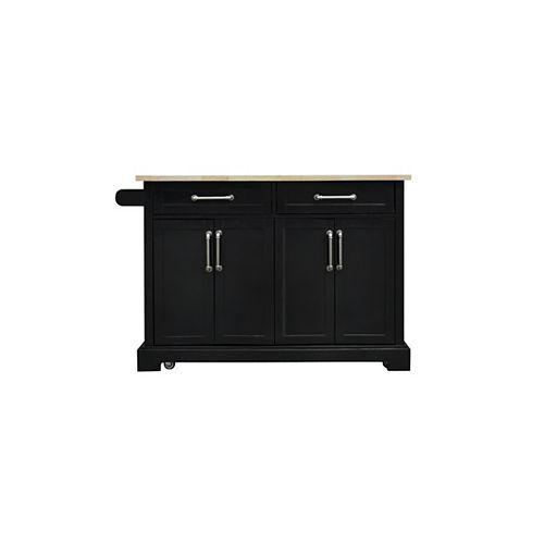 48-inch Black Kitchen Cart