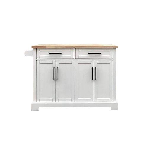 48-inch White Kitchen Cart