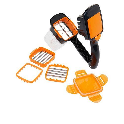 NutriChopper est une trancheuse 5 en 1 compacte et portative qui vient avec son  contenant