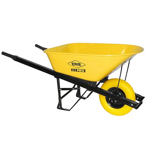 6 cu. ft. Steel PRO Grade Wheelbarrow with Flat Free Tire