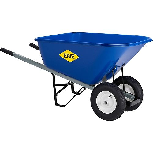 ERIE 10 cu. ft. XXL Poly Dual Wheel Wheelbarrow with Pneumatic Tire