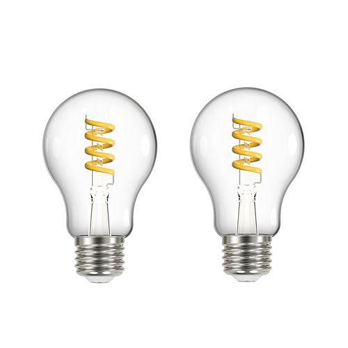Ecosmart 2 ampoules A19 ECS en spirale à filament équiv. 40W, int. var.,ambrées transparentes 2200K