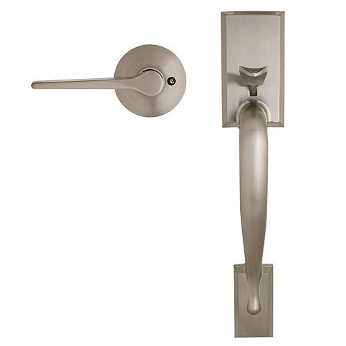 Alexander Satin Nickel Handleset without Deadbolt with interior Freedom Door Lever