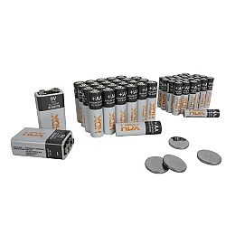 Combo Pack Alkaline Battery (Comprend 24 x AA, 24 x AAA, 2 x 9V, 4 x CR2032), 54 Pièces