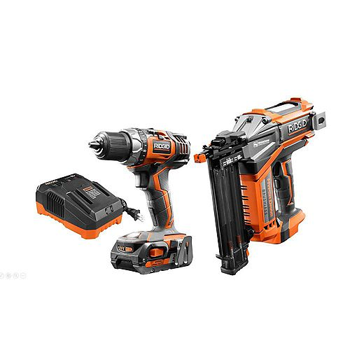 RIDGID 18V Cordless Drill/Driver and Brad Nailer Combo Kit with (1) 2.0 Ah Battery and Charger