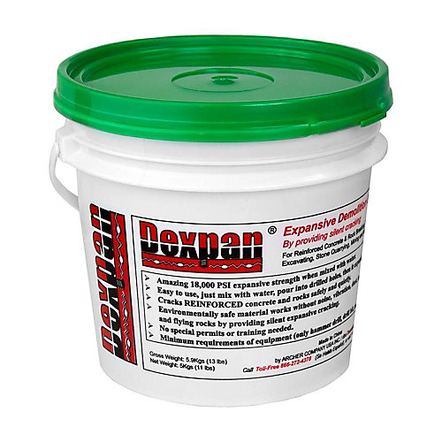Type 2 Expansive Demolition Grout for Breaking Concrete Rock Boulders 10 to 25°C (11 b Bucket)