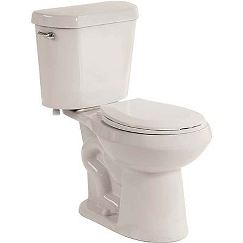 2-Piece 1.28 GPF Single Flush Round Bowl Toilet In White With Seat Included