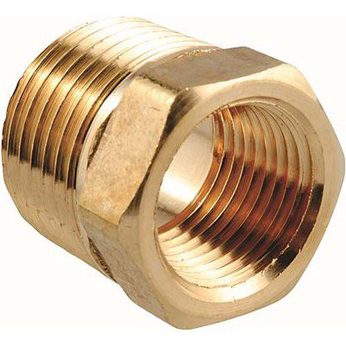 1/2 inch X 3/8 inch Brass Mip X Fip Hex Bushing