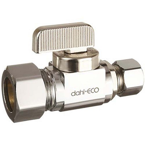 Straight Ball Valve Stop 5/8 inch O.D. X 3/8 inch O.D., Lead Free