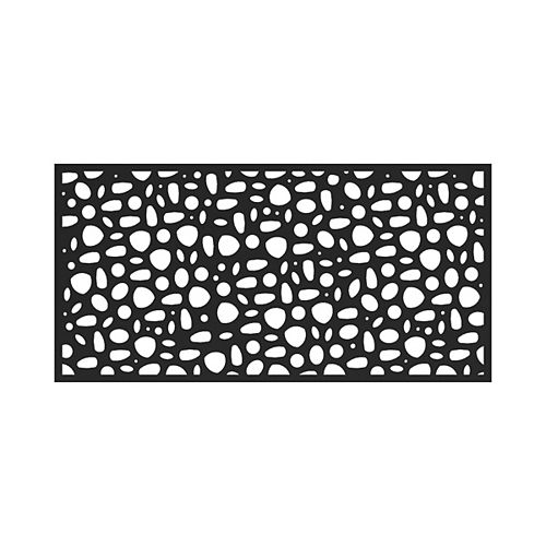3' x 6' Decorative Screen Panel - River Rock - Black