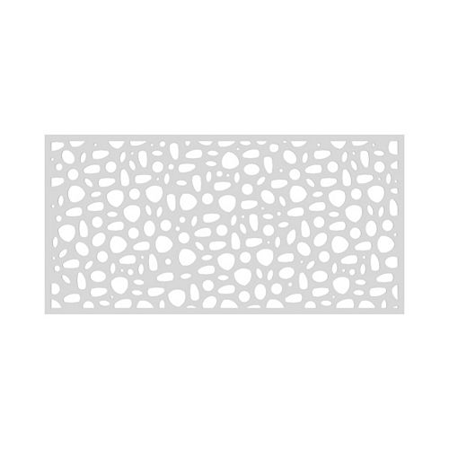 3' x 6' Decorative Screen Panel - River Rock - White