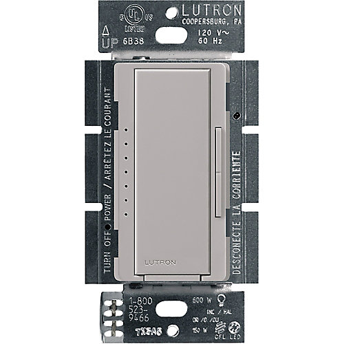 Maestro C.L Dimmer Switch for Dimmable LED, INC/HAL Bulbs, Single-Pole or Multi-Location, Gray