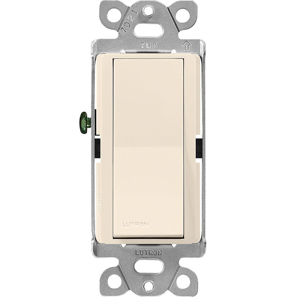Lutron Claro Single-Pole On/Off Switch, 15A, Light Almond