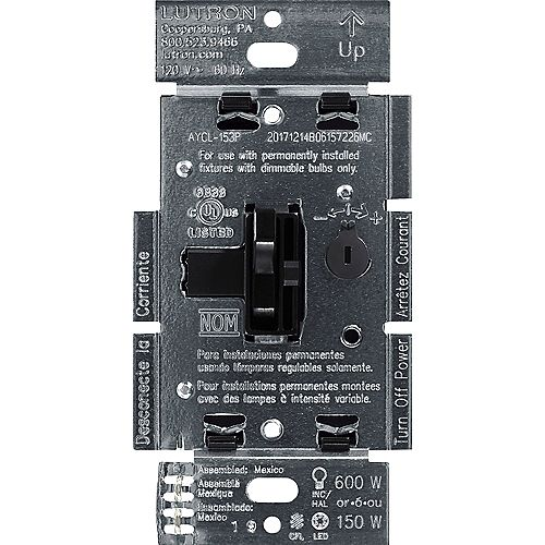 Ariadni LED+ Dimmer Switch for Dimmable LED/Halogen/Incandescent Bulbs, Single-Pole or 3-Way, Black