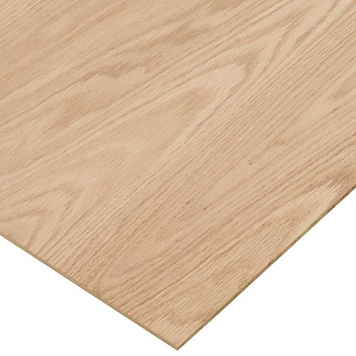 1/4in. X 2ft. X 4ft. Red Oak Plywood
