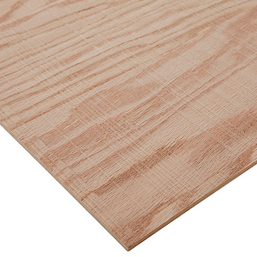 1/4in. X 2ft. X 4ft. Rough Sawn Red Oak Plywood