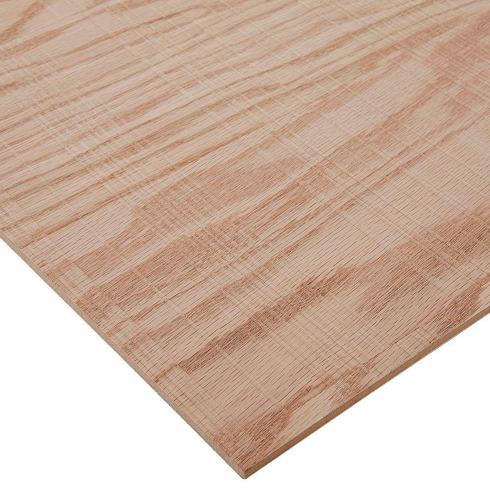 Columbia Forest Products Contreplaqué de chêne rouge brut 1/4 po x 2 pi x 4 pi