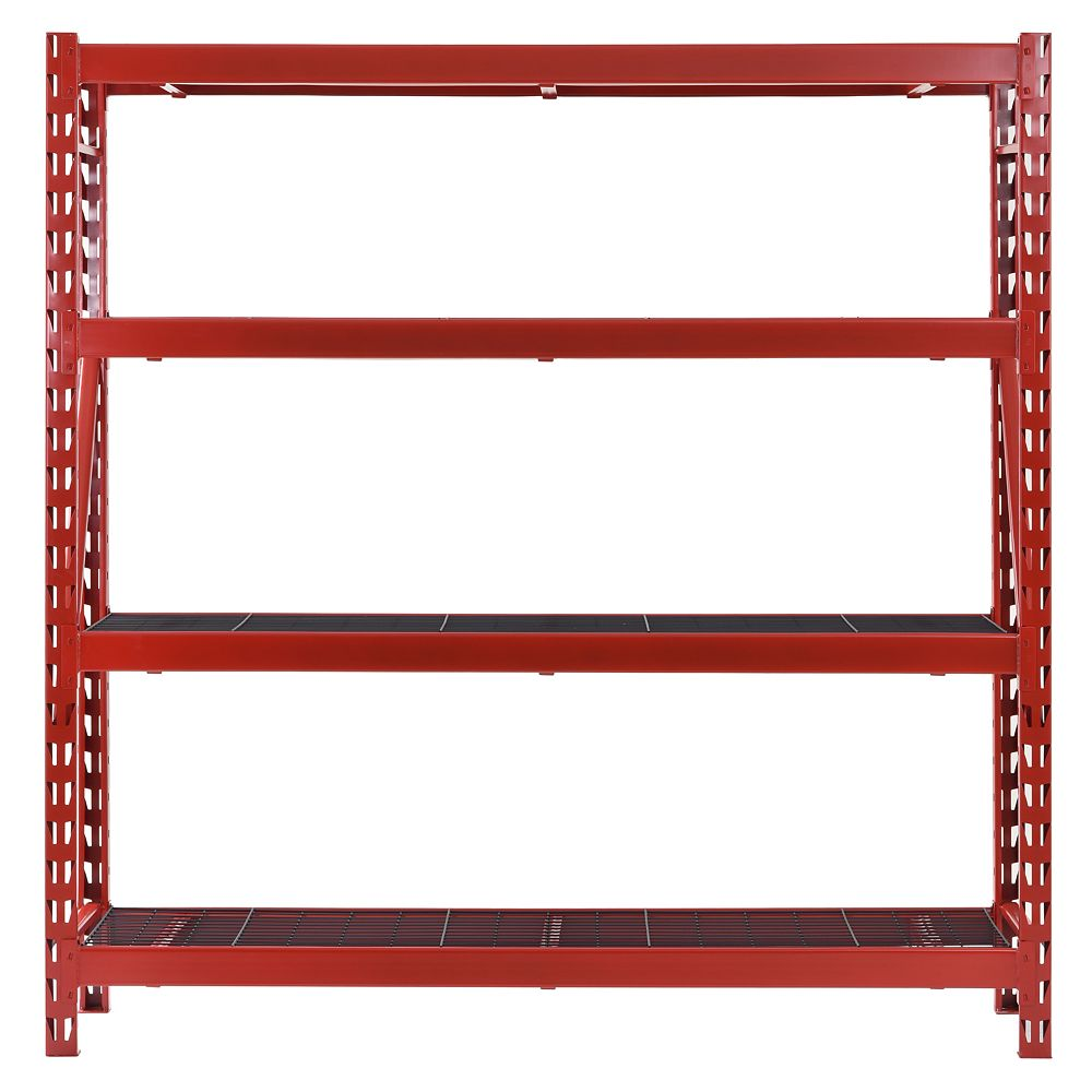 Husky 77-inch W x 78-inch H x 24-inch D 4-Shelf Welded Steel Garage Storage Shelving Unit with Wire Deck in Red