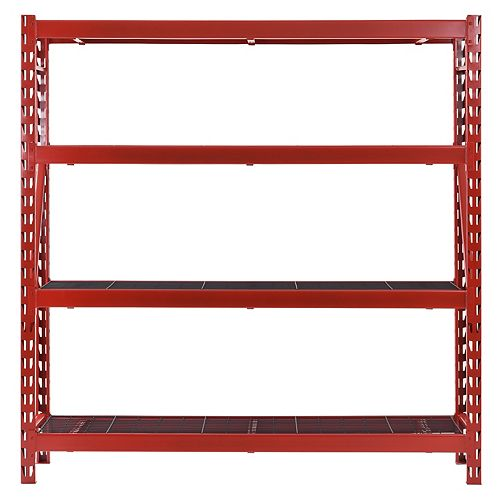 77-inch W x 78-inch H x 24-inch D 4-Shelf Welded Steel Garage Storage Shelving Unit with Wire Deck in Red