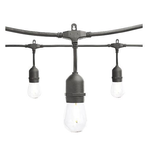 Commercial Grade Plug-In Led String Lights 24 ft., 12 Shatter Resistant Led Filament Bulbs