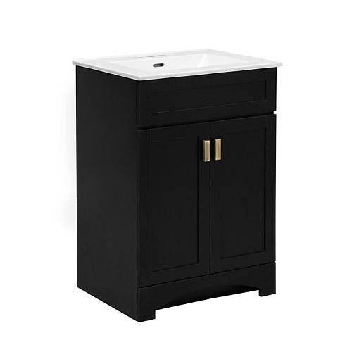 Rocara Black 24-inch W Vanity Combo with White Vitreous China Top