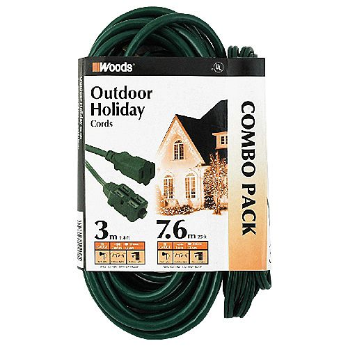 Outdoor Extension Cords, 25 ft. 16/2 SJTW and 10 ft. PXWT (2 Pack)