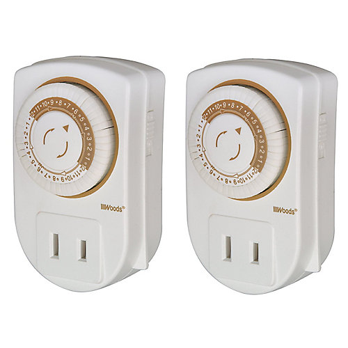 24 Hour Indoor Plug-In Mini Single-Outlet 15 Amp Mechanical Timer, White (2 Pack)