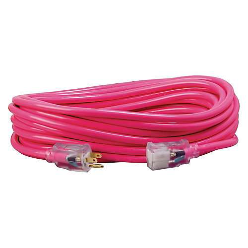 50 ft. SJTW Lighted End Pink Extension Cord