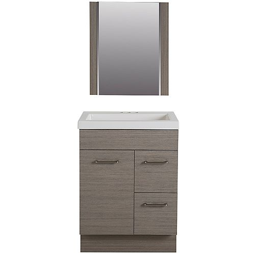 Jayli 24.5 in. W Vanity in Haze with Cultured Marble Vanity Top in White with White Basin and Mirror