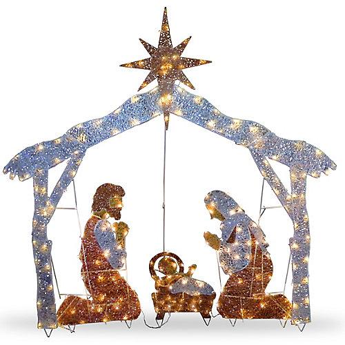 Crèche de Noël de 1,8m avec ampoules transparentes
