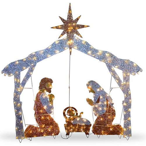 72 Nativity Scene with Clear Lights
