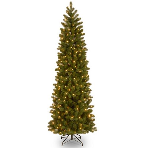 7.5 ft. Downswept Douglas Pencil Slim Fir Tree with Clear Lights