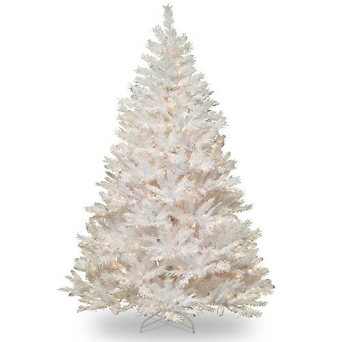Sapin blanc Winchester de 2,1m avec ampoules transparentes