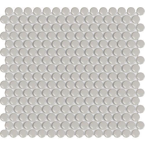 Engima 3/4-inch Cloud Grey Penny Round Glossy Porcelain Mosaics