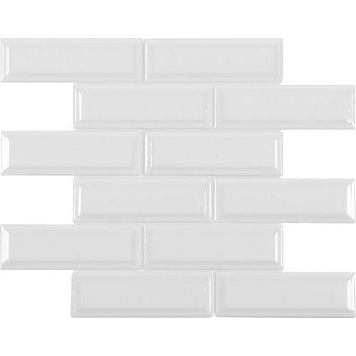 2-inch x 6-inch White Beveled Brick Porcelain Mosaics