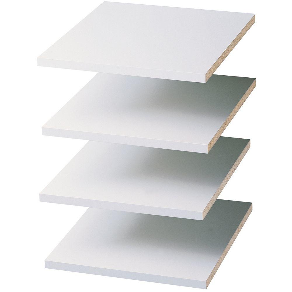 Closet Evolution Tablettes, 12 po blanc, ens. de 4