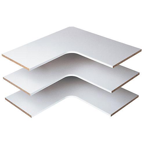 30 in. Corner Shelves in White (3-Pack)
