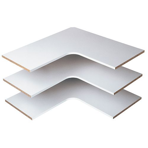 Closet Evolution 30 in. Corner Shelves in White (3-Pack)