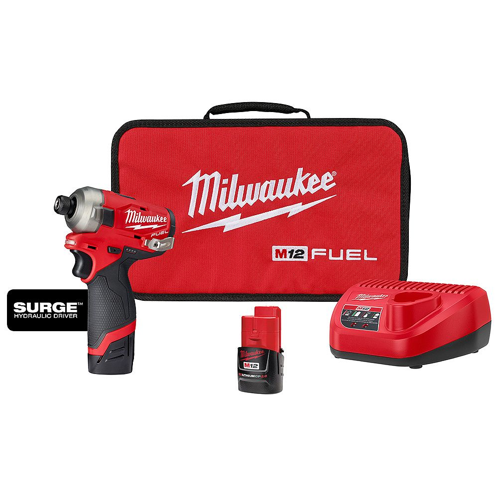 Milwaukee Tool M12 FUEL 12V Li-Ion sans fil Kit de tournevis à percussion hexagonale 1/4 p... | Home Depot Canada