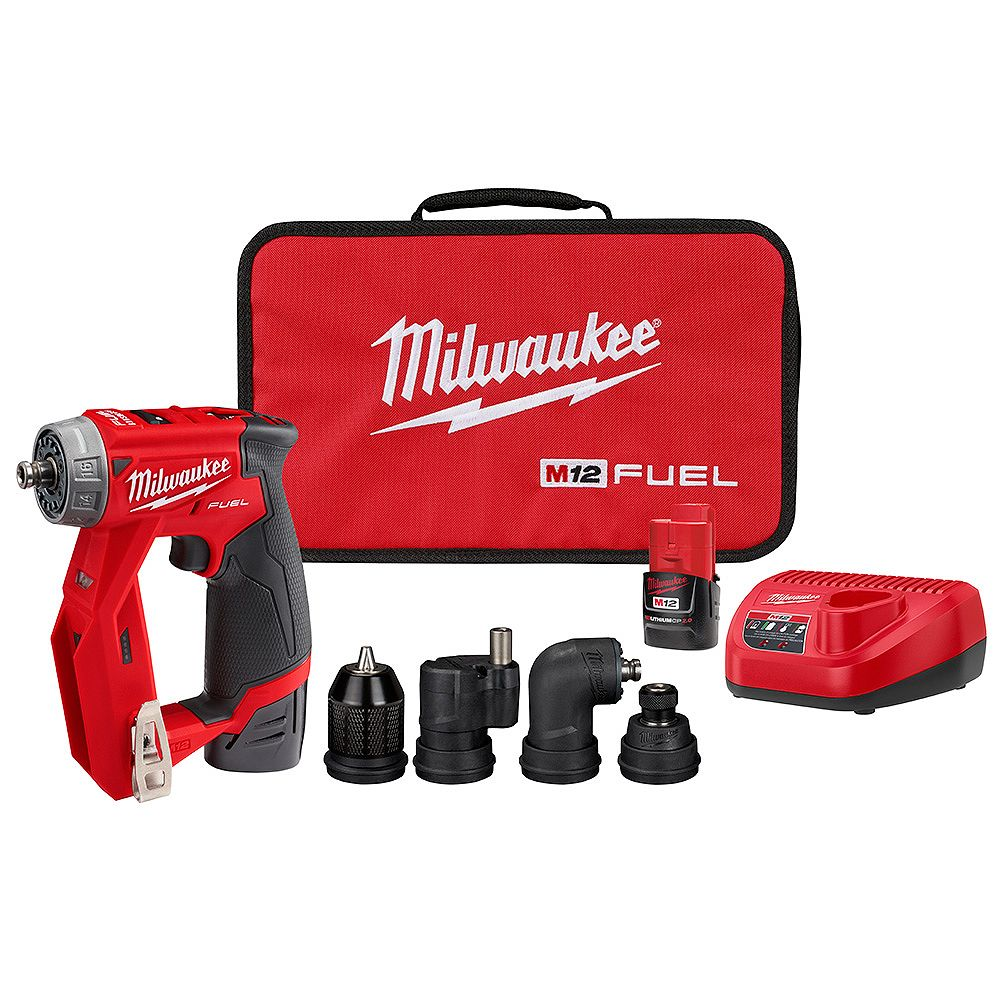 Milwaukee Tool M12 FUEL 12V Li-ion Brushless Cordless 4-in-1 Installation 3/8 in. Drill Driver Kit W/ 4 Tool Heads