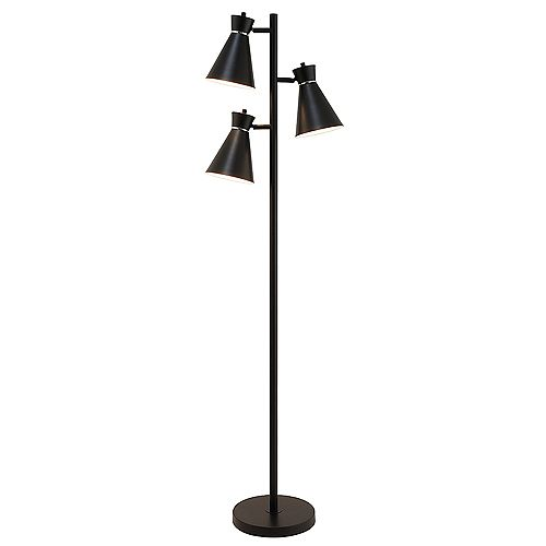 Lampadaire à 3 lampes fini noir mat à touches chromes