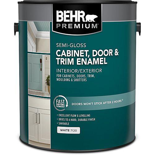 BEHR PREMIUM Peinture émail semi-brillant intérieur pour armoires et garnitures - Base blanche, 3,79 L