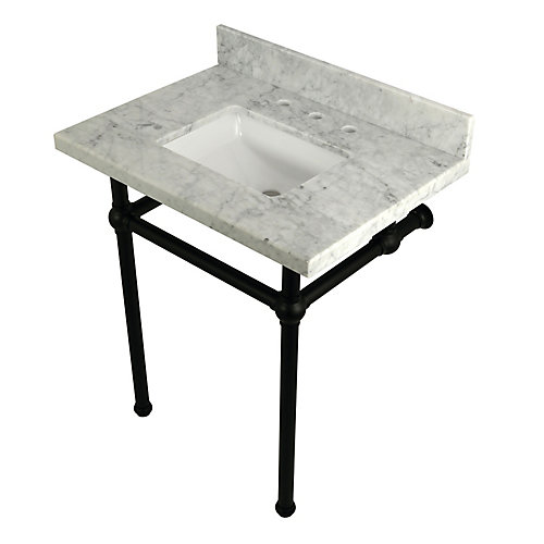 Square Sink Washstand 30 in. Console Table in Carrara with Metal Legs in Matte Black