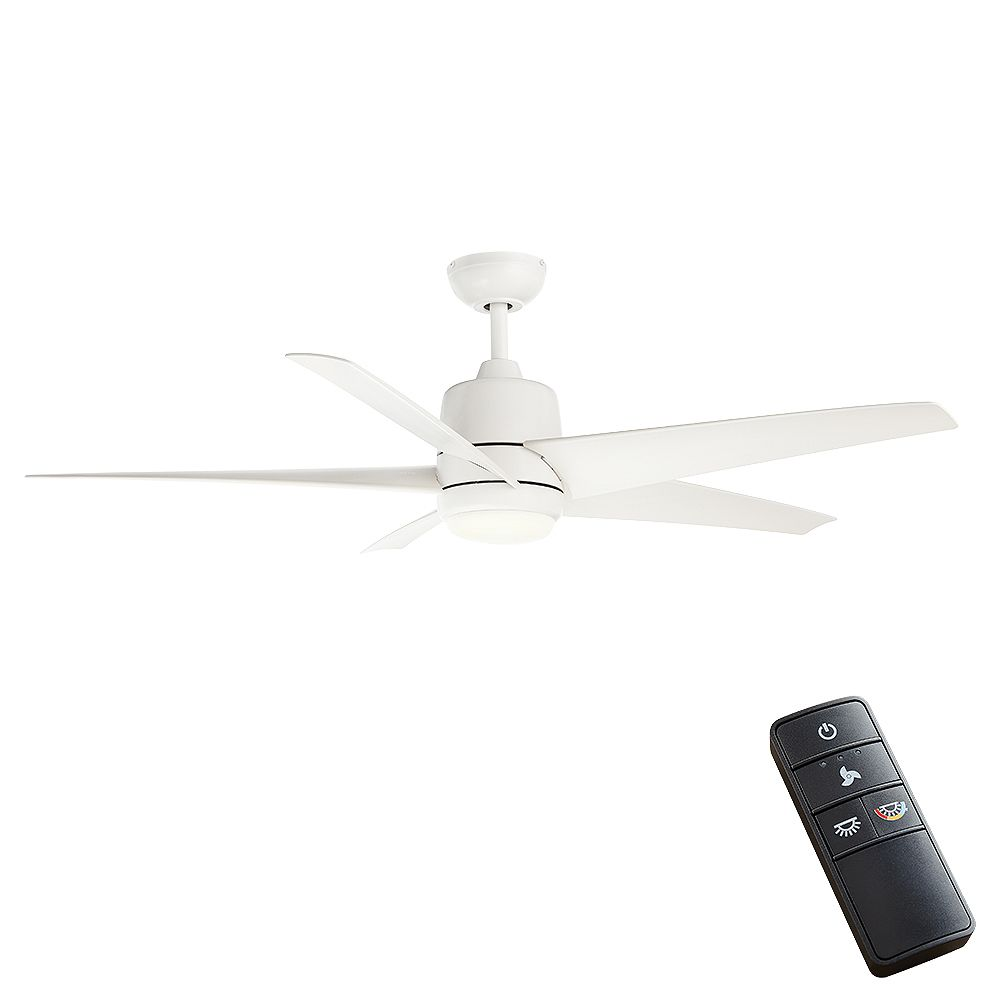 Hampton Bay Mara 54-inch Color Changing LED Indoor/Outdoor Ceiling Fan with Light and Remote in Matte White