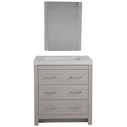 Woodbrook 31-inch W Vanity in Elm Sky with Cultured Marble Vanity Top in White and Mirror
