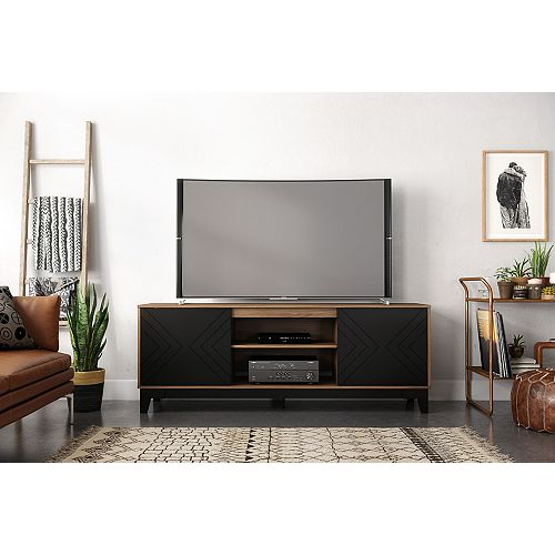 Arrow 72 inch TV Stand, Nutmeg and Black