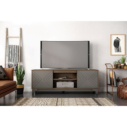 Arrow 72 inch TV Stand, Nutmeg and Greige