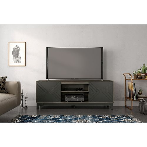 Arrow 72 inch TV Stand, Bark Grey and Charcoal Grey